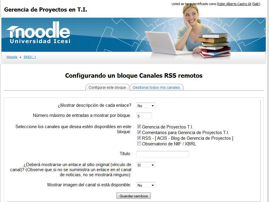 Configurar el bloque RSS