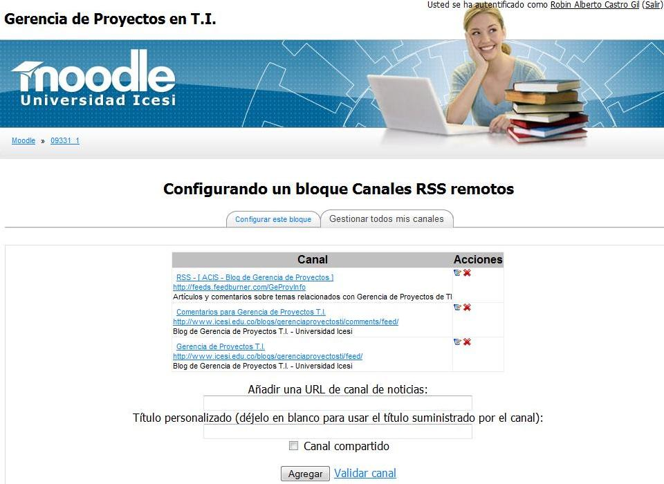 Gestionar los canaes RSS|